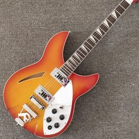 Custom Shop,6 Strings 330 Model,Ricke,Sunset Color Top with Red Circle,Hollow Body, Free shipping