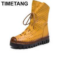 Horaires automne femmes bottes en cuir véritable femme respirant fond souple bottes plates décontracté bottes pour femmes Chaussure