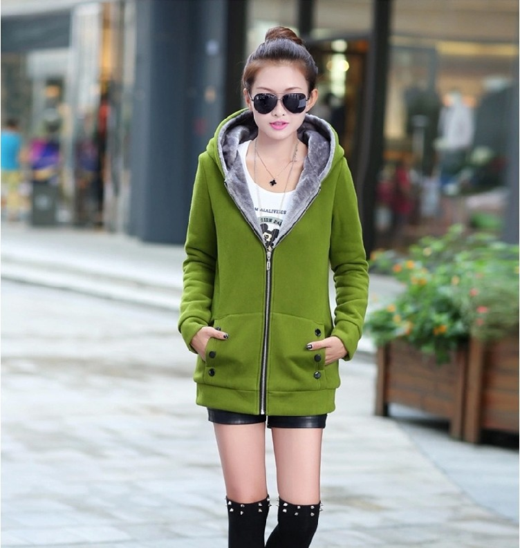 Sale long coat  large size  woman's thickening and autumn and winter female solid zip-up sweatshirts