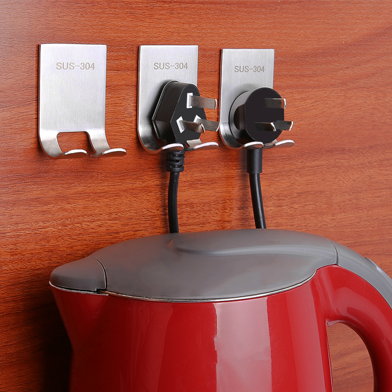 Tackiness Hook Wall Shelf Punch Free Plug Bracket Multi-functional Storage Rack Paste Style Stainless Steel Plug Hook 3Pcs/lot