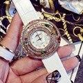 Marca de lujo de Cuero Genuino Correa de Reloj de Las Mujeres Vestido de Relojes de Señoras Del Diamante Del Rhinestone Lleno de Cristal de Cuarzo Para Las Mujeres