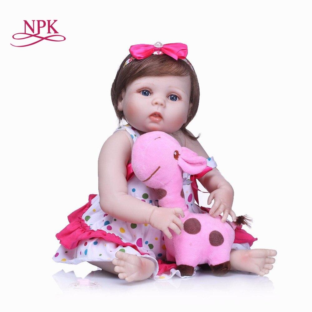 NPK 22' Neugeborenen Puppen Lebensechte Reborn Puppen Babys Voll Körper Silikon Vinyl Bebe Weihnachten Geschenk Für Mädchen Realistische Kinder Spielzeug