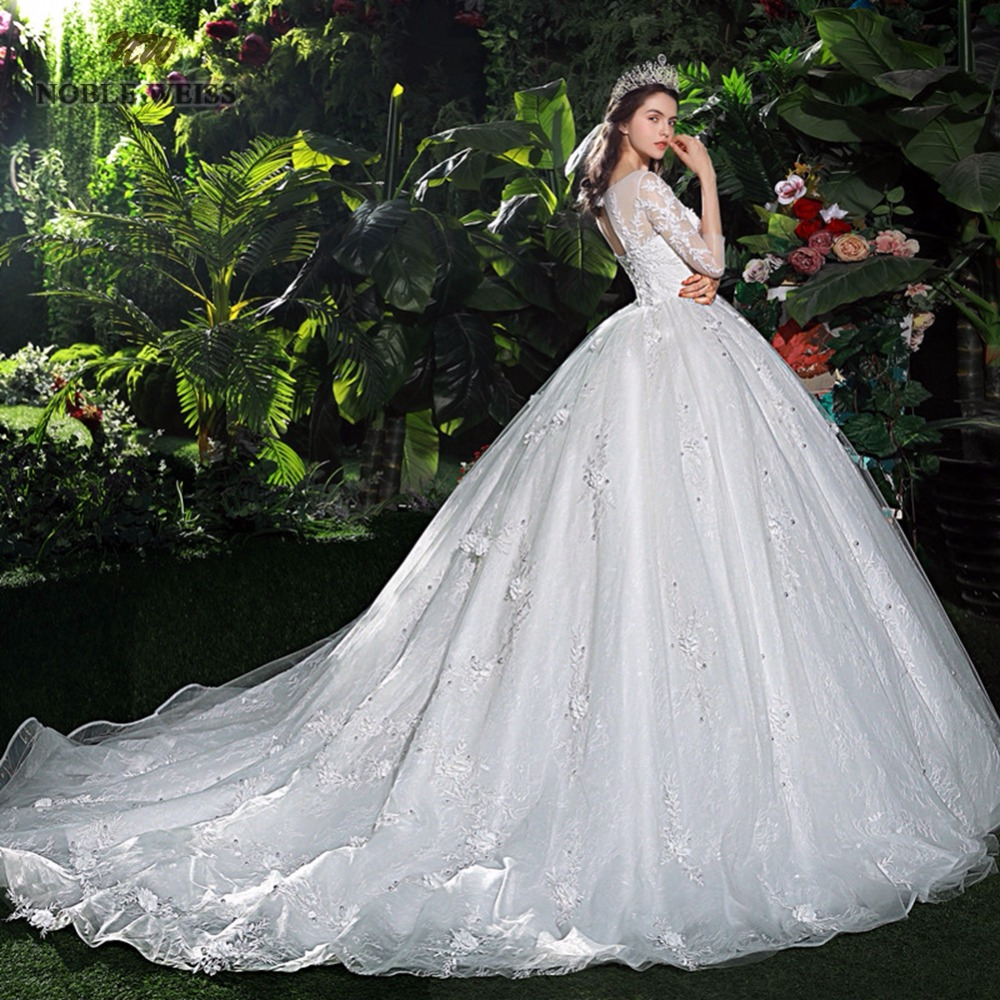 Plus Size Wedding Ball Gowns: Solemn Cathedral Train Wedding Dress With Lace Edge Long