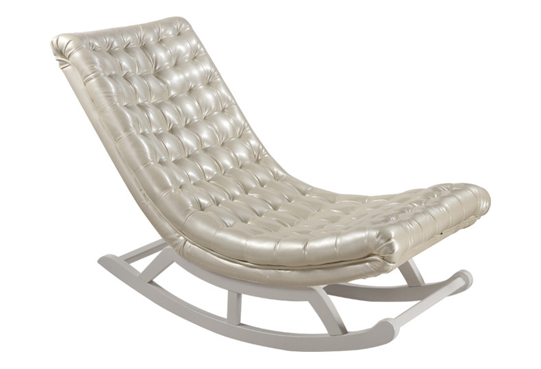 Modern Design Rocking Chair White Leatherwood Home Furniture Living