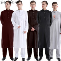 Beonlema Arabic Men Islamic Clothing White Abaya Two Pieces Moroccan Kaftan Muslim Thobe Musulman Robe Saudi Arabia Clothing