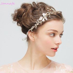 Image 3 - Jonnafe Gold Boho Leaf Hair Crown Wedding Headband Rhinestone Bridal Hair Vine Accessories Women Jewelry Headpiece