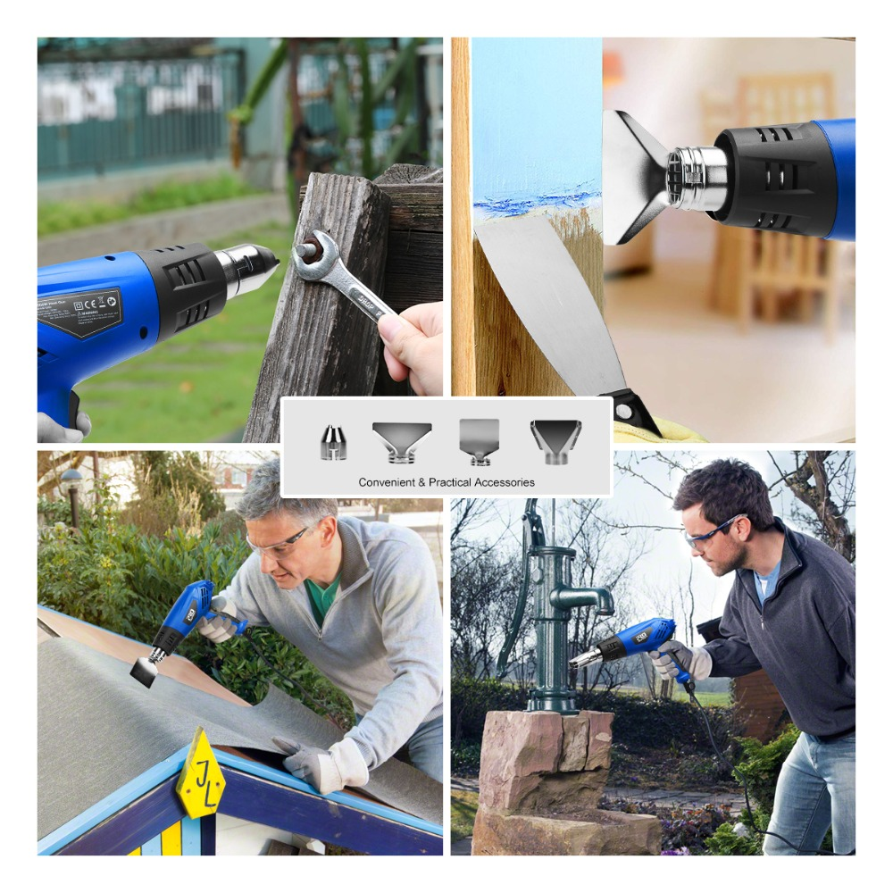 Image 5 - PROSTORMER 2000W Heat Gun 220V Electric Heating Gun  Hot Air Industrial Tool Dual Temperature Building Temperature with 4 Nozzle-in Heat Guns from Tools on
