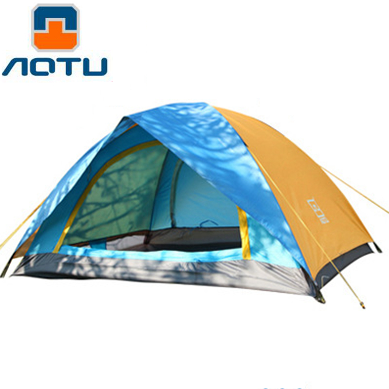 AOTU 4 Seasons Camping Waterproof  Tent 2 Person Double Layer Portable Outdoor Hiking Tourist Travel Picnic Beach Tent yingtouman outdoor 2 person waterproof double layer tent fiberglass rod portable ultralight camping hikingtents