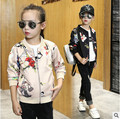 Девушки Весна Осень 2016 новых детская одежда девушки большой мальчик бейсбол куртка пальто куртка большие девственные Дети одежда 3-12 лет 2