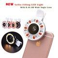 Selfie portátil clip-on mini 36 led anel lâmpada luz fill-in luz noite de iluminação suplementar para iphone 7 6 6 s plus samsung s7