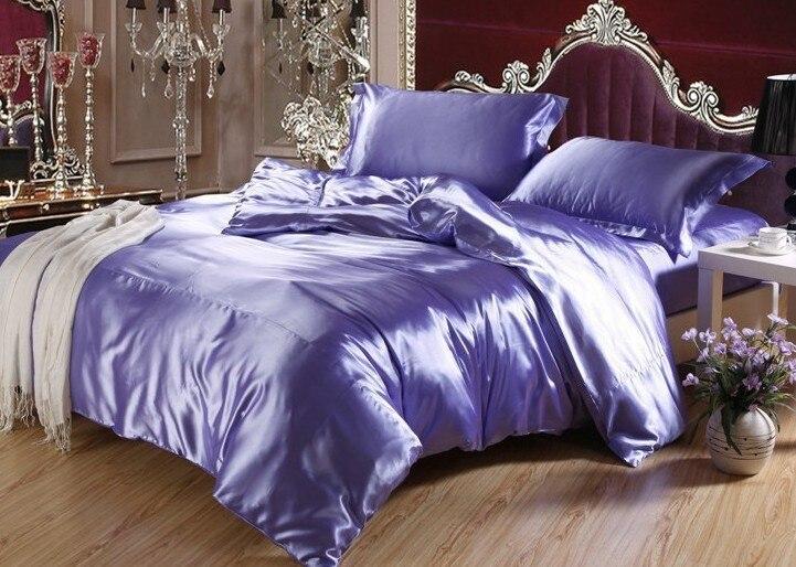 7pcs Blue Purple Silk Bedding Set Satin Sheets Super King