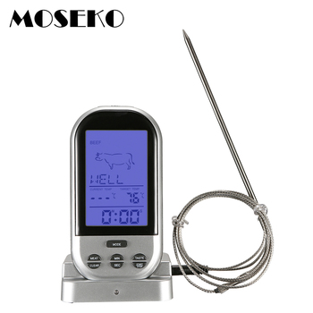 MOSEKO Digital Wireless Oven Thermometer Meat BBQ Grilling Food Probe Kitchen Thermometer Cooking Tools With Timer Alarm