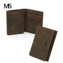 цена на High Quality Genuine Crazy Horse Cowhide Leather Men Wallet Short Purse Small Vintage Wallet Brand Designer Card Holder TWB027