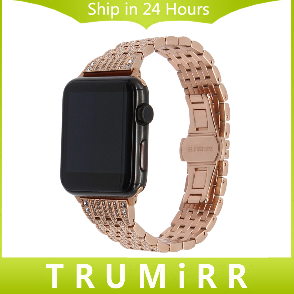 Crystal Diamond Watchband for iWatch Apple Watch Band 38mm 42mm Series 1 & 2 Steel Band Wrist Strap Bracelet Black Gold Silver