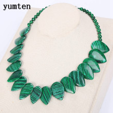Yumten Malachite Necklace Women Men Natural Stone Leaf Pendant Jewelry Bag Power Gemstone Statement Sobretudo Feminino Naszyjnik