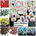 50000 pcs ss6 2mm Resina Strass Cores #37-#54 Pedras Flatback Com o Apoio de Prata Perfeito Para Unhas 3D Art Decorações