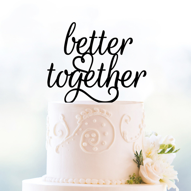 Better Together Wedding Cake Topper Romantic Decoration Foodsafe Glitter Silhouette Modern And Elegant