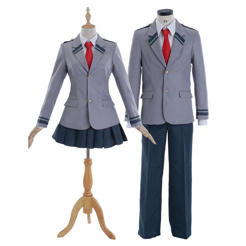 Anime My Hero Academia OCHACO URARAKA Izuku Midoriya Shoto Todoroki Cosplay Costume School Uniforms with Wig
