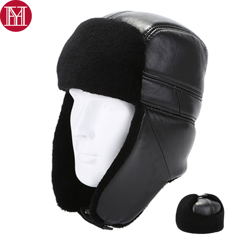 New Winter Russia Men Real Lamb Wool Fur Bomber Hat Thick Warm 100% Real Natural Sheepskin Leather Caps Male Leather Earlap Cap(China)