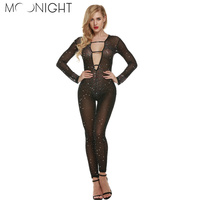 MOONIGHT One Size Fashion Elegant Women Rompers Deep V Jumpsuit Long Sleeve Bodysuit Sexy Club Jumpsuits