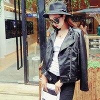 2016 Autumn Cool Street Jacket Women Short PU Leather Zipper Basic Jackets Motorbiker Coat Outwear Tops