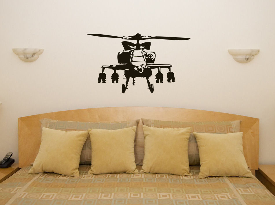 HWHD os1658 Banksy Apache Helicopter Vehicle Wall Art Decal Sticker Picture Decorate free shipping