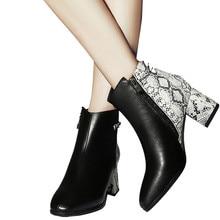 MORAZORA 2020 جديد الأفعى الموضة مختلط اللون النساء الأحذية مربع عالية الكعب الخريف الشتاء الأحذية منصة الموضة الثلوج حذاء من الجلد