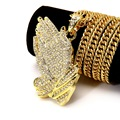 Iced Out Big Necklace Pave Full Cubic Zircon  Yellow Gold Pated Palm Hand Pendant Chain Necklace Men Hip Hop Jewelry