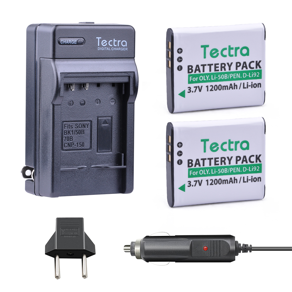 Tectra Замена LI-50B LI-50B (2 шт) камера батарея + цифровой Зарядное устройство + Прокат разъем для Olympus 1020 1010 1030 <font><b>Pentax</b></font> X70