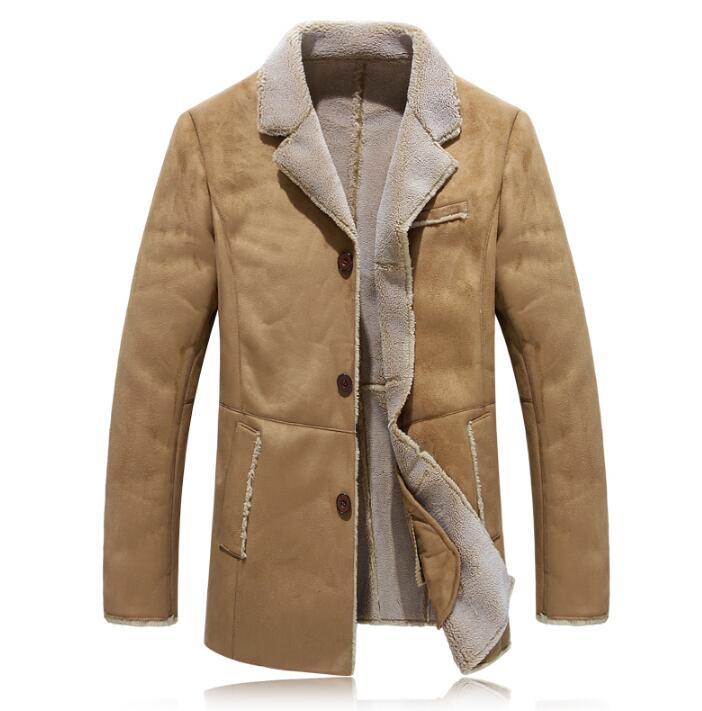 Winter thicken warm leather jacket men jaqueta de couro single-breasted mens faux fur coats plus velvet vintage outerwear khaki