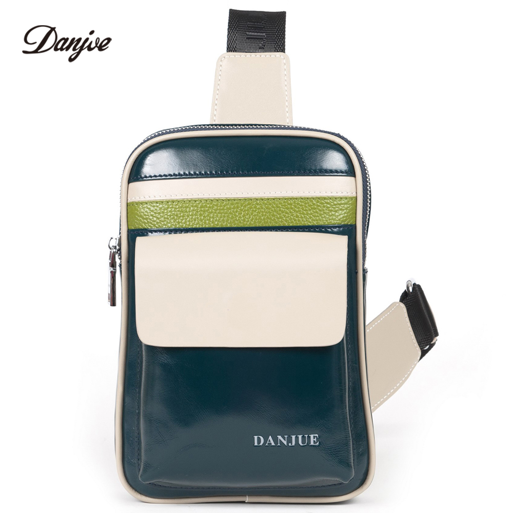 DANJUE Male Daypack Genuine Leather Designer Chest Bag Men Brand Casual Small Back Pack Leisure Crossbody Bag Men danjue brand men chest bags real genuine leather male messenger bag casual fashion highquality big capacity travel crossbody bag