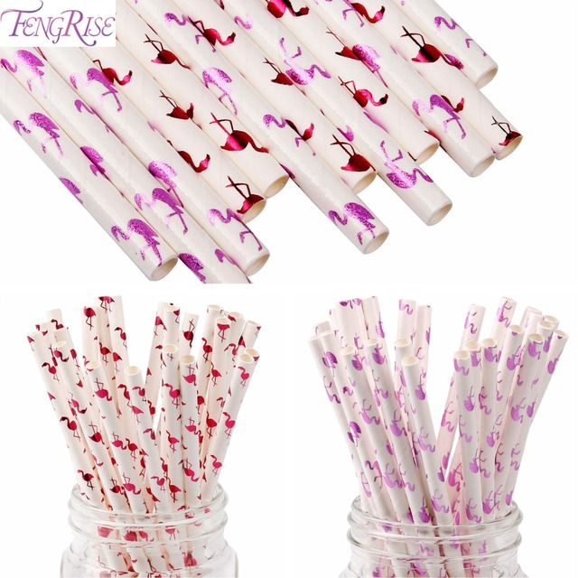 fengrise 12 25pcs flamingo paper straws wedding luau decoration bridal shower hawaiian party supplies birthday drinking