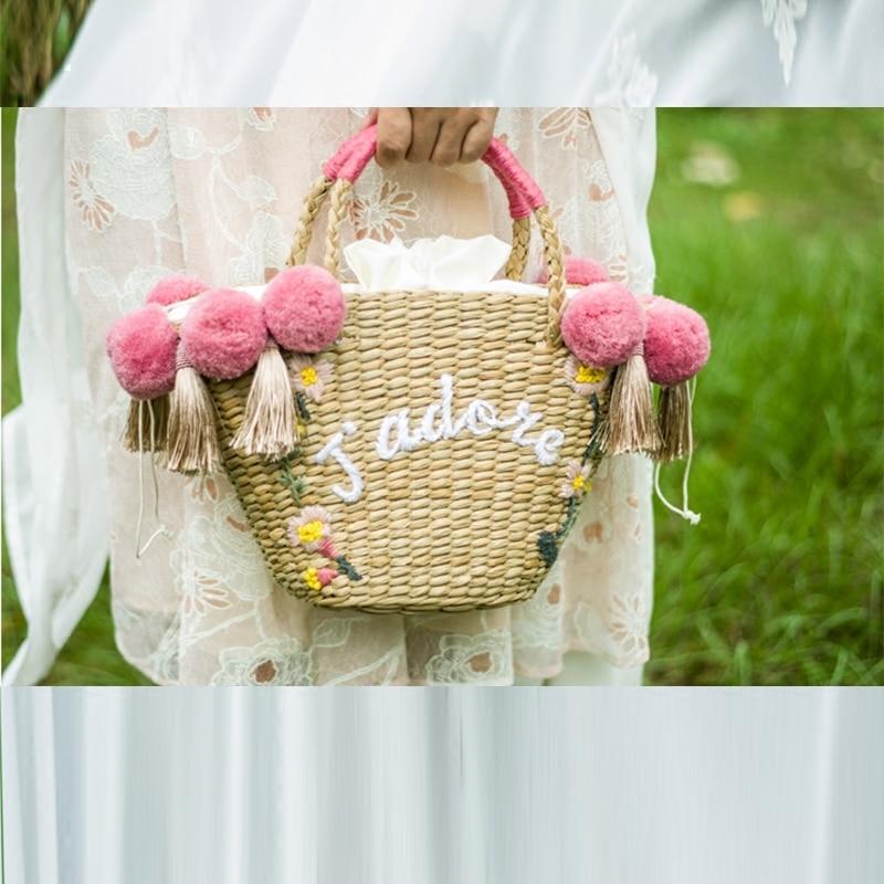 Bohemian Beach Bag for Women Cute Handmade Straw Bags tassels pom pom Summer Vacation Handbags Drawstring