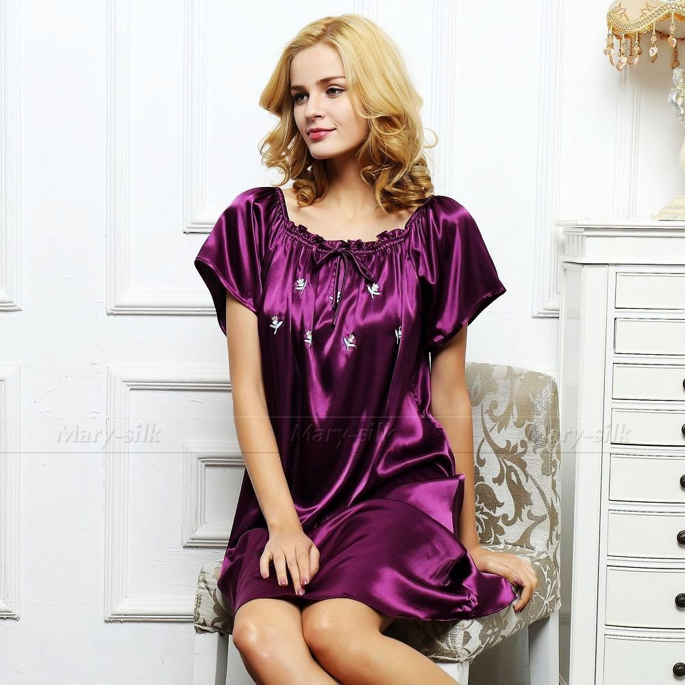 Women Silk Satin Pajamas Loungewear Sleepshirt Nightdress Lingerie Sleepwear 2XS~XL __Fi ...