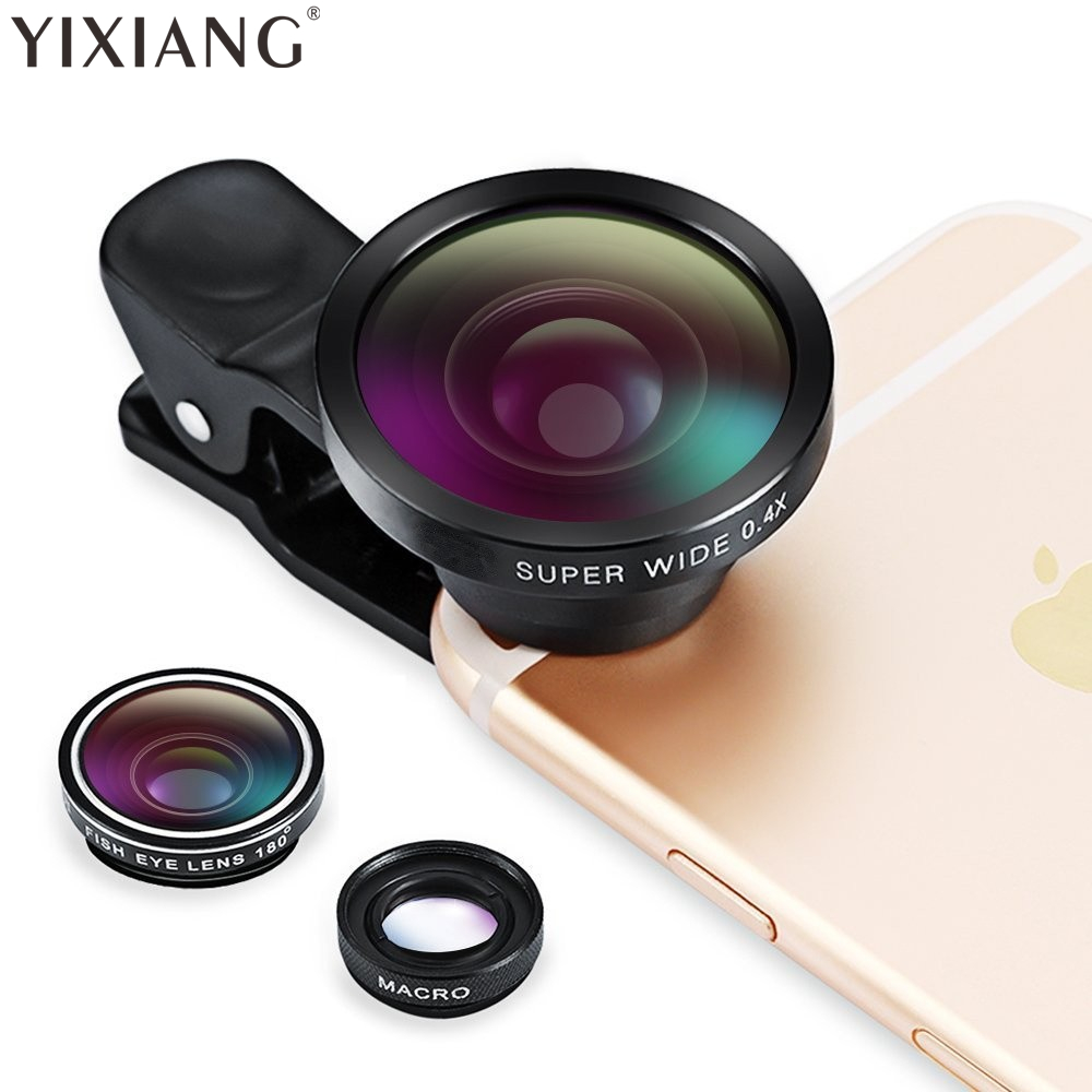 YIXIANG Clip On 180 Degree Fish Eye Lens, 0.4X Wide Angle Lens, 3 in 1 Camera Lens Kits for iPhone 6 Plus iPhone 7 8 X Samsung