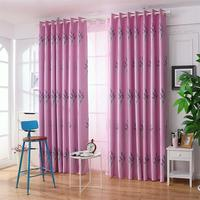 Pastoral lavender printing shade cloth curtains For Modern Living Room Bedroom Yarn Curtains purple 1*2.5M