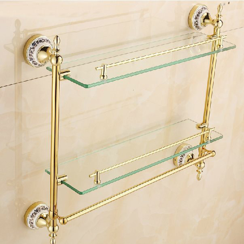 Free Shipping BAKALA Fashionable Brass Double Layer Bathroom Accessories Gilded Rack BR-5513K free shipping antique brass double cup rack bathroom accessories wholesale 64004b