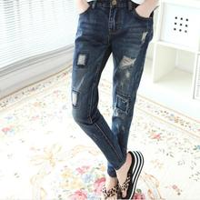 9 размеры мода марка хлопок патч Лодыжки Длина карандаш джинсы Корейский стиль отверстие полосы был тонкий Тонкий джинсы женские J37