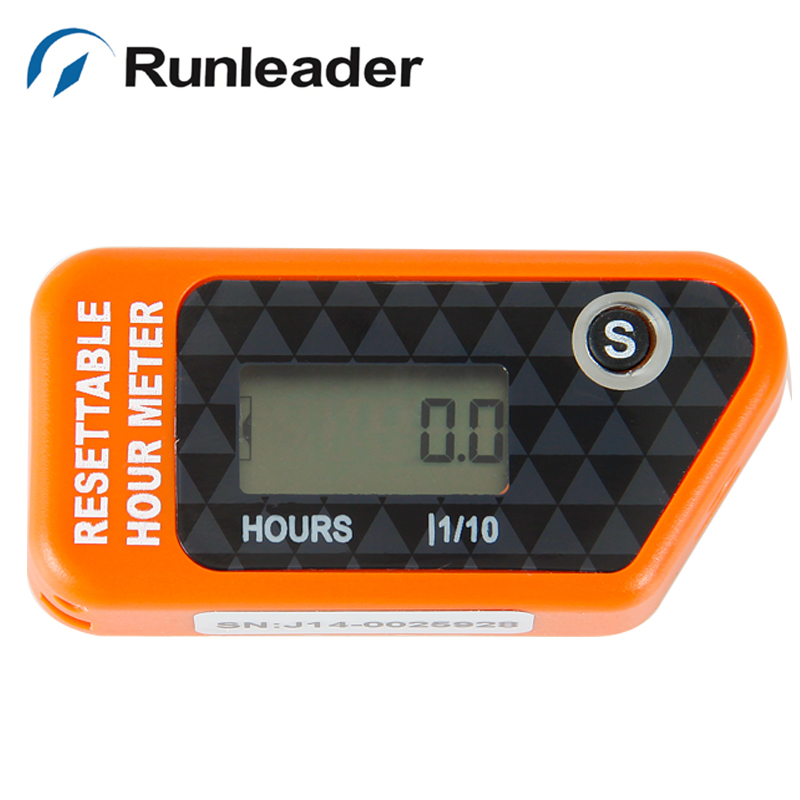 Inductive Re-settable digital LCD Hour meter counter for motocross gas Engine boat snowmobile ATV chainsaw jet ski