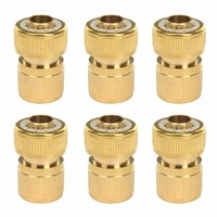 6Pcs Brass Garden Lawn 5/8 Water Hose Pipe Fitting Quick Connectors