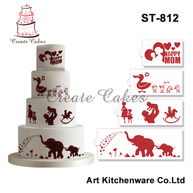 Happy Mother\'s Day Stencil Cake Decorating Stencil Duck,Elephant ...