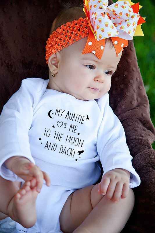 My Auntie Take Me To The Moon And Back Print Baby Rompers Cotton Long Sleeve Newborn Clothing Infant Rompers Toddler Clothes
