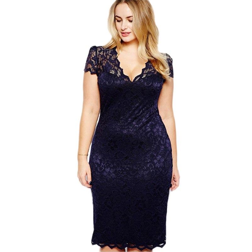 Women Hollow Out Peplum Flower Crochet Lace Dress Plus Size Tight ...