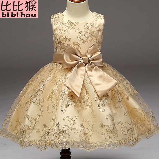 ddc35d6a2dd0 2018 Baby Girls Infant Embroidery Dress kids Gold Wedding Toddler High-end  Dress Flower Vestidos tutu Formal Party Dress girls