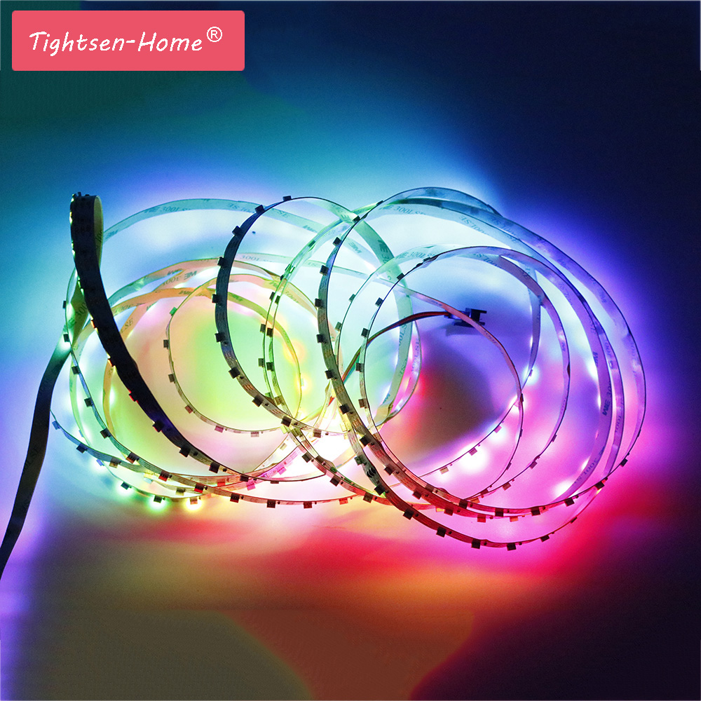 1M 2M 3M 4M 5M Addressable SK6812 DC5V 60leds/m WS2812B IC tltra thin 10mm wide SMD 4020 side led strip White PCB Non-waterproof