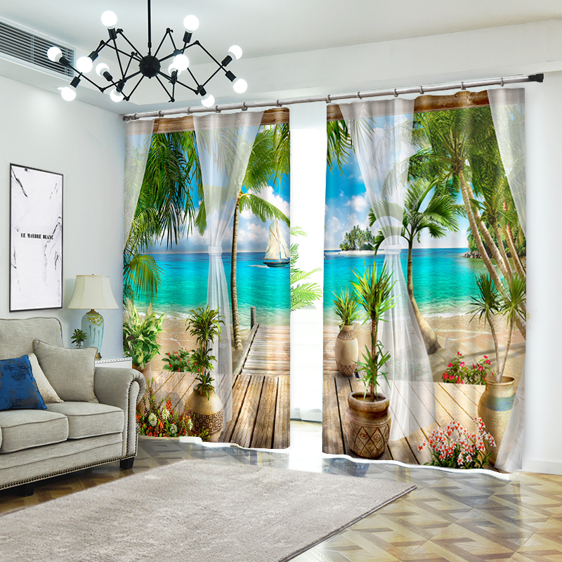 Creative Photo of Beach Style Decorative 3D Curtain for Home Textile Luxury Living Room 3D Sunshade