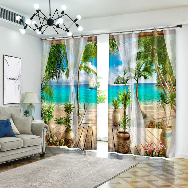 Creative Photo of Beach Style Decorative 3D Curtain for Home Textile Luxury Living Room 3D Sunshade Curtain Customize Size