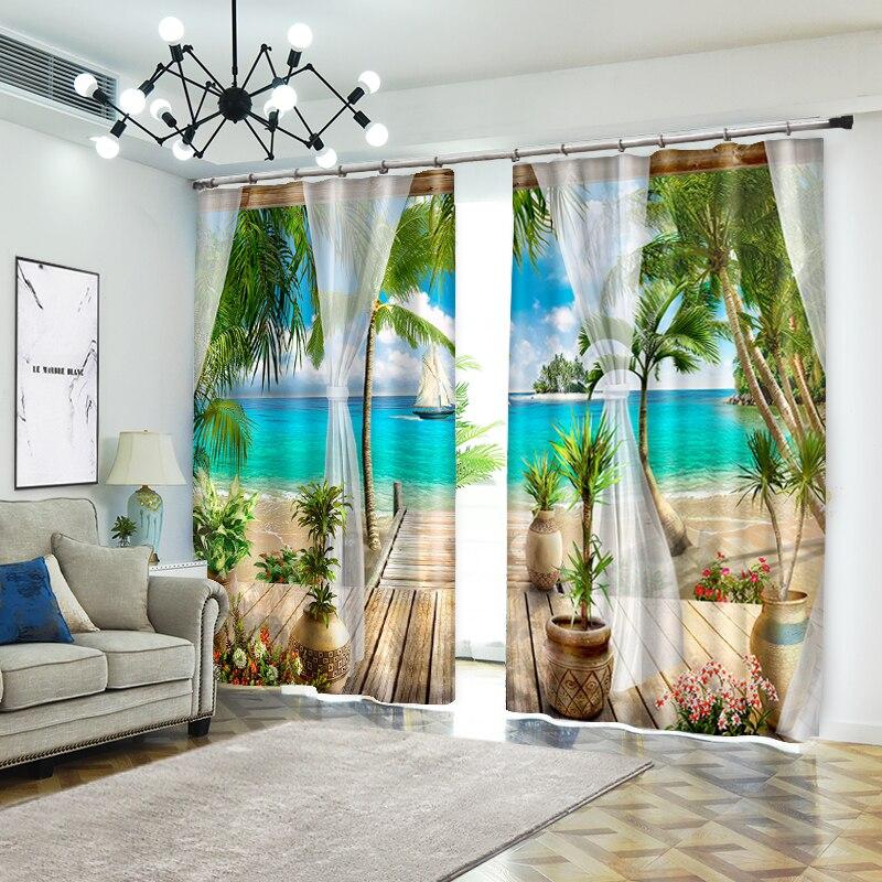 해변 스타일의 크리 에이 티브 사진 홈 섬유에 대한 장식 3d 커튼 럭셔리 거실 3d 양산 커튼 사용자 정의 크기-에서커튼부터 홈 & 가든 의  그룹 1