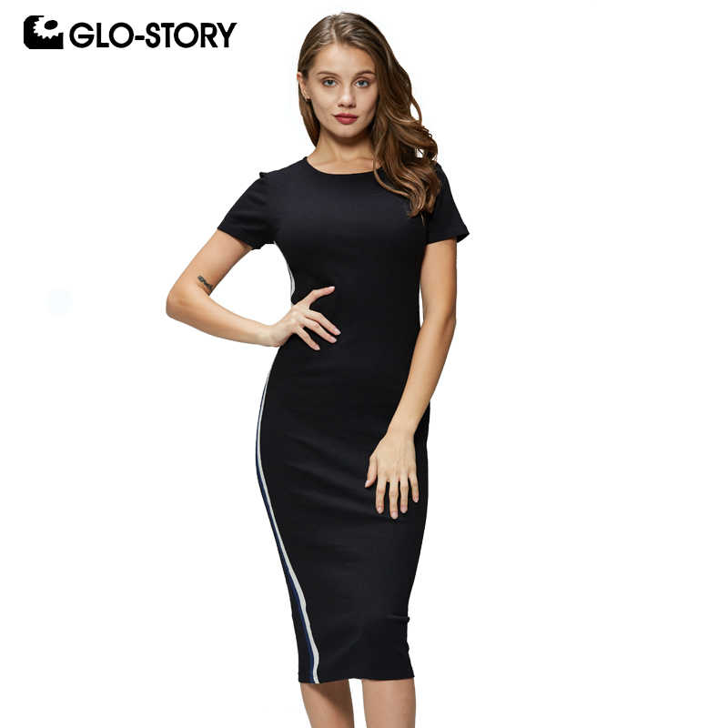 GLO-STORY Women's 2019 Summer Short Sleeve Sexy Bodycon Dress Woman Screwneck Knee length With Side striped Dresses WYQ-8826