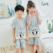 d42e5ca3f77d62 Piżamy dzieci lato krótki rękaw bielizna nocna dziewczyny salon nosić dzieci  śliczne pijamas Homewear chłopcy miękkie piżamy 201.